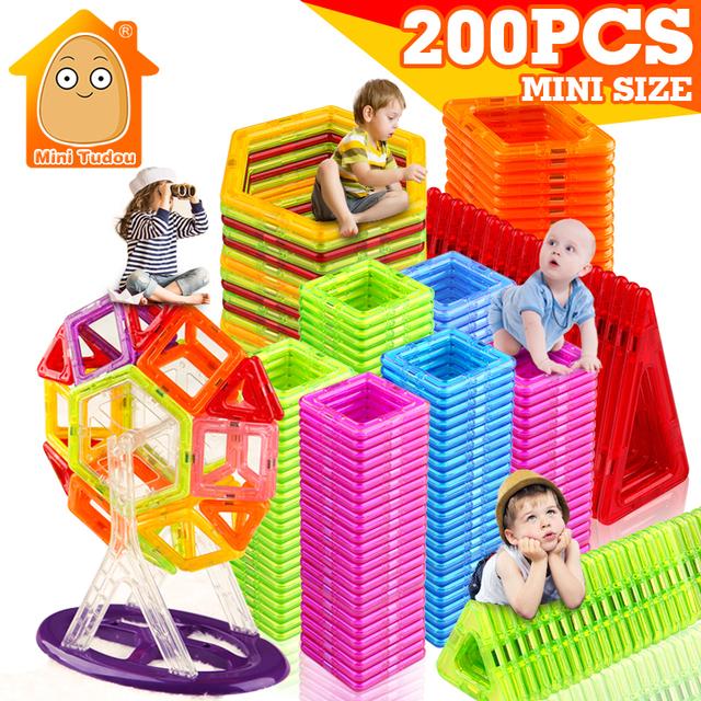 MiniTudou New 200pcs Mini Magnetic Blocks Building Construction Blocks Toy Bricks Magnet Designer 3D Diy Toys For Boys Girls
