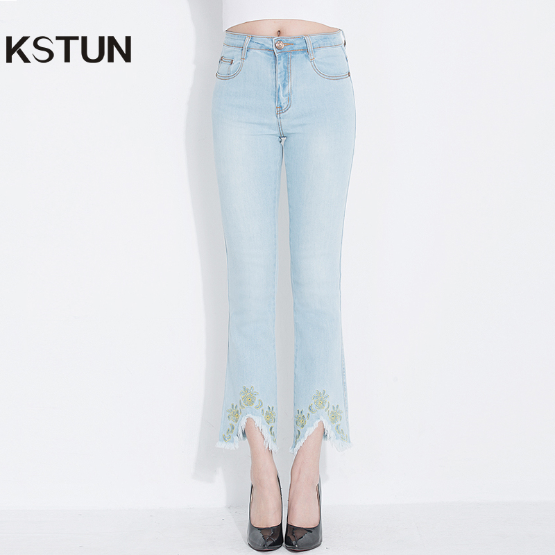 Size 2018 For Blue Embroidery Elastic Light Denim Fashion Boot Plus Flared High Pants Vintage Mujer Women Kstun Waist Cut Jeans 5pHqwCg