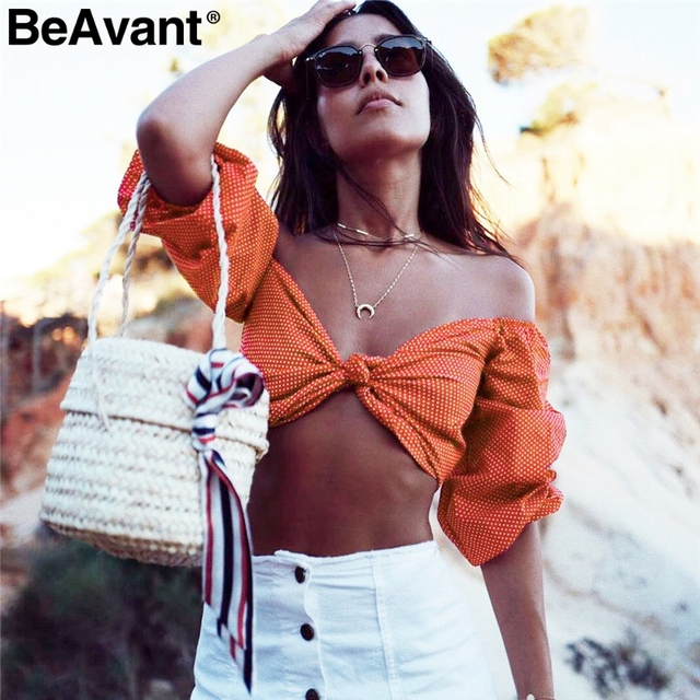 c811d1e8d5195 BeAvant Cold shoulder polka dot sexy camis tank top Women casual bow tie up top  shirt Summer beach crop top female 2018 New