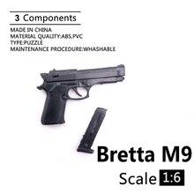 """1:6 Bretta M9 4D Gun Modell Für 12 """"Action-figur Kunststoff Schwarz Soldat Waffe Zubehör"""