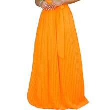 Summer Bohemia Long Skirt Women Stretch High Waist Chiffon Casual Pleated Maxi Faldas Saias Streetwear Plus Size XXL