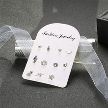 11 Pcs/set Fashion Crystal Clouds Stars Moon Pineapple Leaves Silver Earrings Set Women Cute Jewelry Accessories Lover Gifts