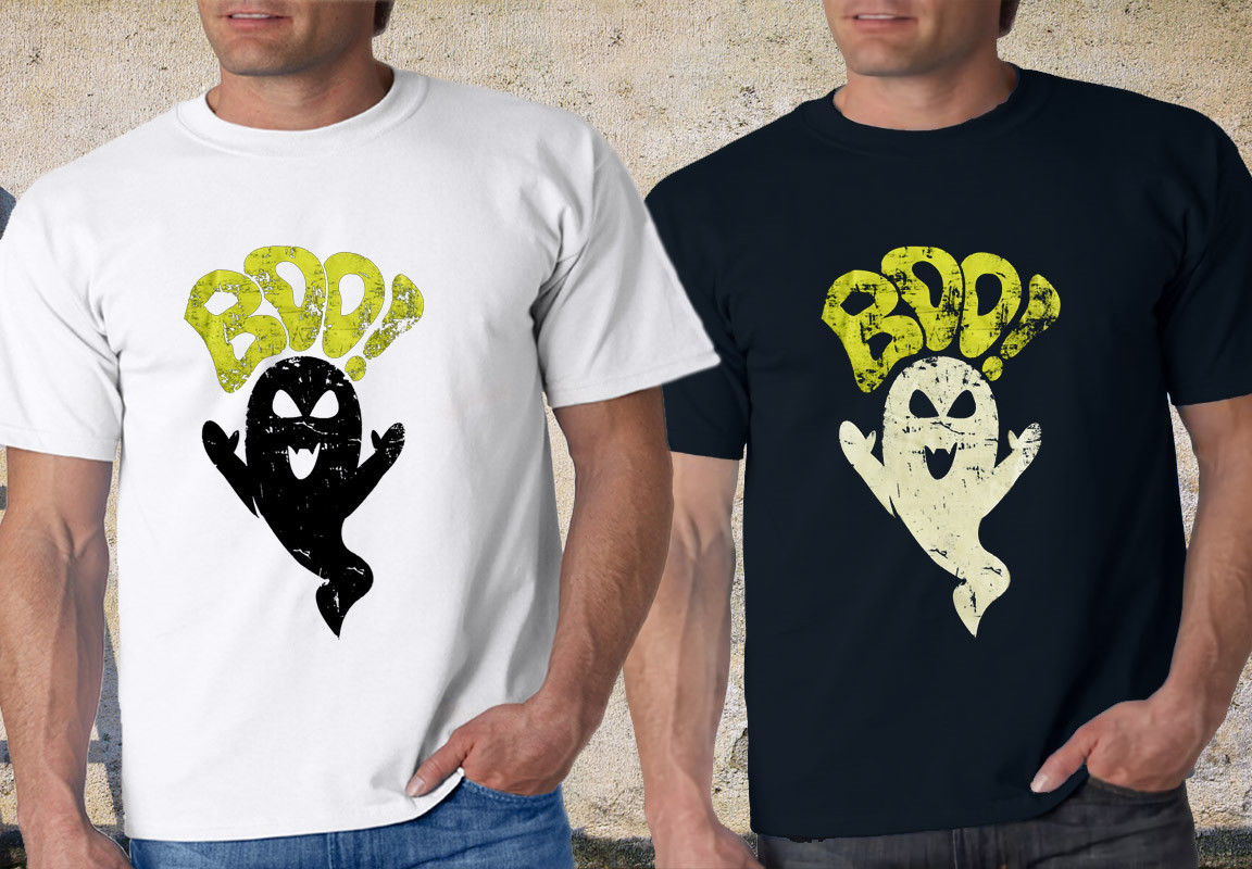 HALLOWEEN ORIGINALS BOO LADIES SKINNY Black & White T-Shirt tee XS-3XL