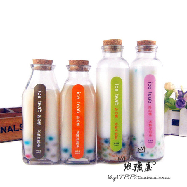 Free Shipping Lead Free Glass Bottle Of Cold Tea Bubble