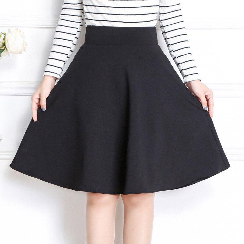 TIGENA 2019 Summer A-line Midi Skirts Womens Knee Length High Waist School Pleated Skirts For Womens Female Skirt Sun Black
