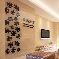 Puzzle géométrie Simple 3d Acrylique en trois dimensions stickers muraux salon TV fond Bar décoratif stickers muraux
