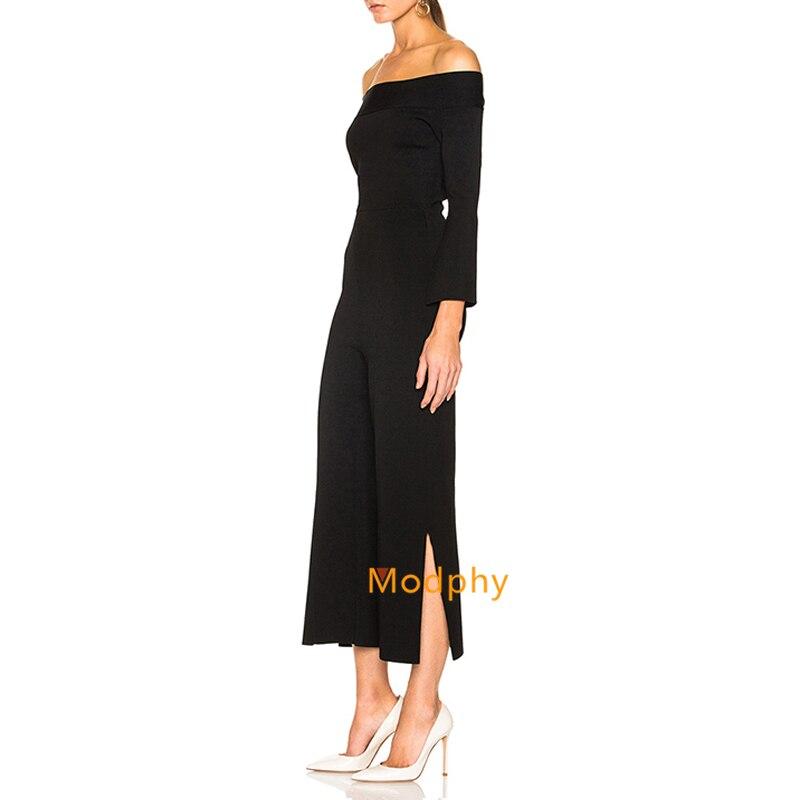 2018 Bandage Slash Dropshipping Femmes Salopette Plein Luxe Hl180 Cou De Manches Nouvelle Solide Sexy Gros Noir Split Mode rFOrqH