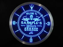 ncqu-tm Personalized Name Biker's Skull Garage Motorcycle Neon Sign LED Clock Wholesale Dropshipping