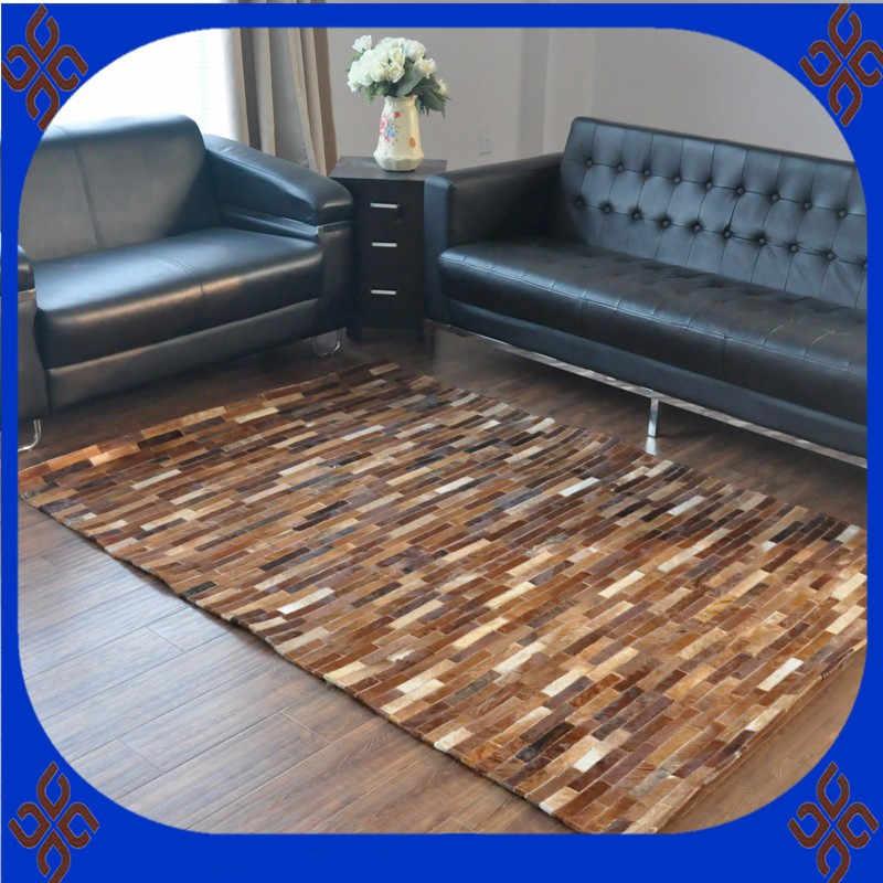 Alfombra de Arte de moda 100% natural cuero de vaca genuino muebles deslizantes para alfombra