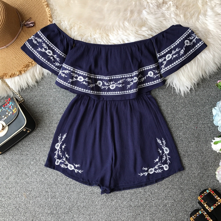 NiceMix Ruffles 2019 Off Shoulder Embroidery Jumpsuit Casual Sexy Women Bohemian Short Summer Playsuit Ethnic Beach Holiday Romp 5