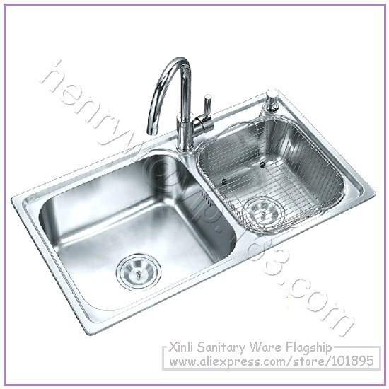 retail luxury sus 304 stainless steel kitchen sink double bowel brass faucet soap dispenser free shipping l16256. beautiful ideas. Home Design Ideas