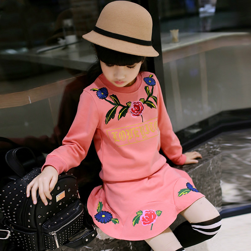 Spring new kids girls spring dress embroidered two piece suit spring