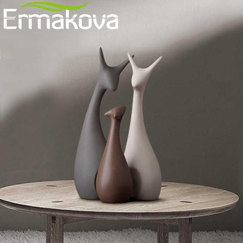 Ermakova Keramik Hewan Patung Dekoratif Patung Rusa Patung Porselen Desktop Rumah Dekorasi Natal Ulang Tahun Pernikahan Hadiah