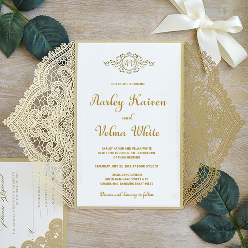 Us 95 0 Gold Lace Wedding Invitations Suite Elegant Laser Cut Invitation With Rsvp Cards Customized Set Of 50 In