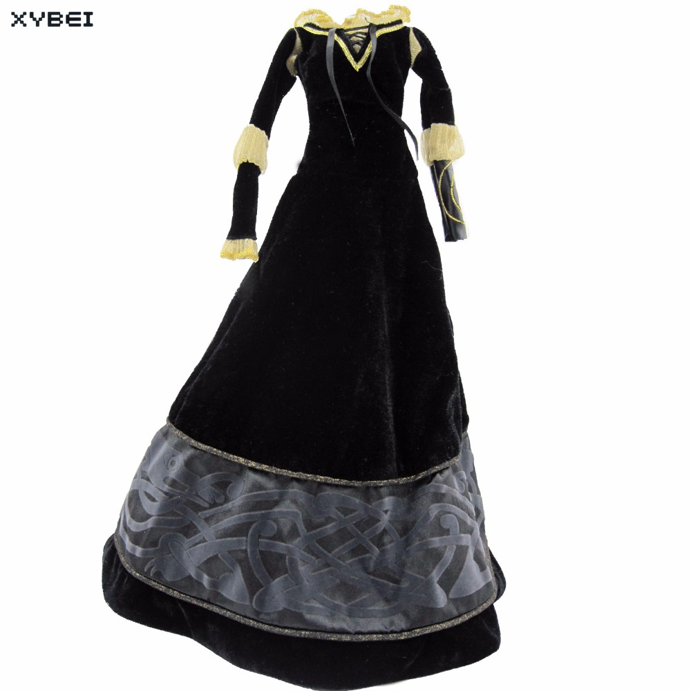 High Quality Fairy Tale Dress Copy Brave Merida Outfit Black Long Sleeves Clothes For 17