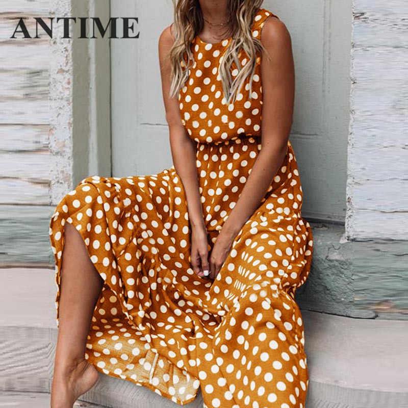 ANTIME, Длинное Элегантное платье в горошек, весна-лето, с круглым вырезом, без рукавов, ТРАПЕЦИЕВИДНОЕ, повседневное, женское, Пляжное, макси, новинка, желтые платья, Boho