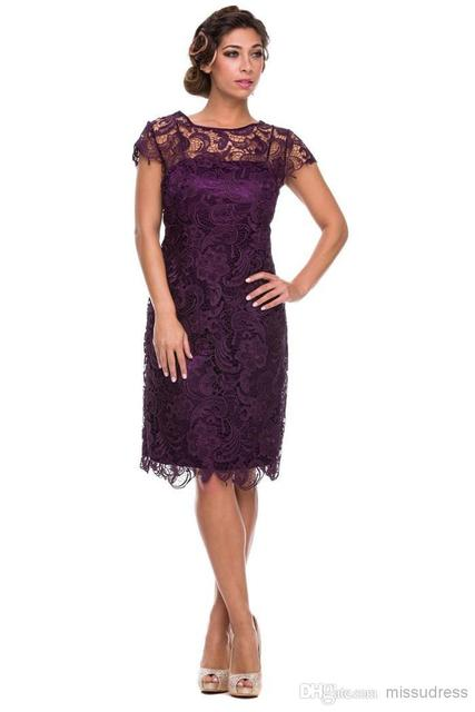 2017 roxo Mãe Da Noiva Vestidos Bainha Joelho de Comprimento Mangas Lace Curto Vestidos de Mãe Para Casamentos