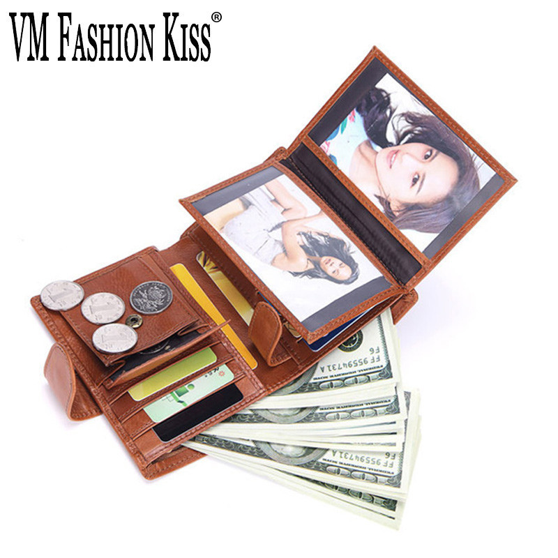 VM FASHION KISS Genuine Original Leather Men's Leisure Retro Short Wallet 11 Card Bit Coin Purse Male Cowhide Purse Wallets Men men wallet male cowhide genuine leather purse money clutch card holder coin short crazy horse photo fashion 2017 male wallets