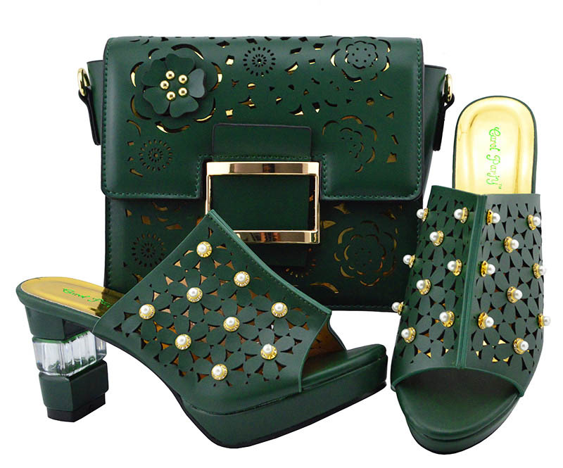 High Quality African Matching Shoes and Bags Italian In Women Dark green Shoes and Bags To Match Shoes and Bag Set with Beads