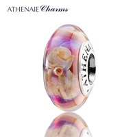 ATHENAIE Genuine Murano Glass 925 Silver Core Purple Flowers Charms Bead Fit All European Bracelets And
