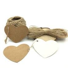 100 pçs/lote Jardinagem Etiquetas Etiquetas De Papel Kraft Branco e Marrom Do Casamento Do Coração Nota Em Branco Preço Pendure Tag Decoração Do Casamento 6.5*5cm