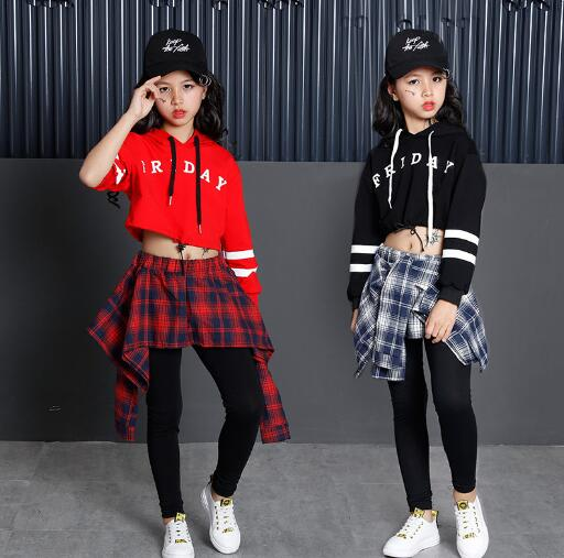 New Hip Hop Girls Clothing 2pcs Children Teenage Girls Crop Hoodies Sweatshirt And Skirt Pants Sets Korean Kids Streetwear