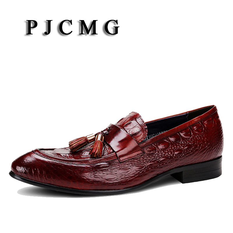 PJCMG New Breathable Black/Red Dress Genuine Leather Crocodile Style Pointed Toe Wedding Business Wedding Shoes With TasselPJCMG New Breathable Black/Red Dress Genuine Leather Crocodile Style Pointed Toe Wedding Business Wedding Shoes With Tassel