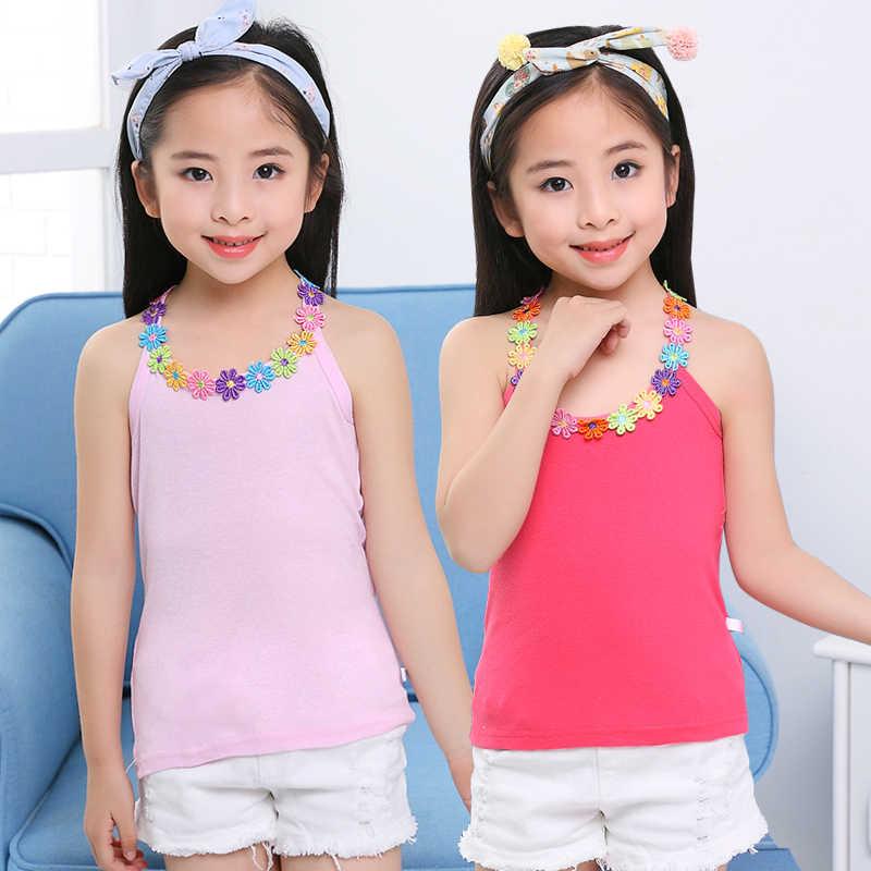Summer Girls Shirts Multicolor Kids Underwear Model Teenager T-shirt Children Undershirt Kids Singlets Baby Camisole 10 12