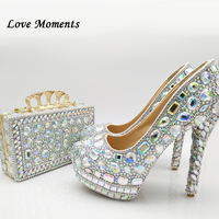Love Moments Women High wedding shoes with matching bags fashion Ladies Platform shoes and bags woman femme AB Bling crystal
