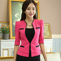 2016 Fashion slim work wear uniform Jacket Women half Sleeves V-neck Coat elegant female Blazer ladies Vogue casual office tops