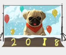 150x210cm Photography Background 2018 New Year Background Cute Dog Backdrop Colorful Balloons Photography Backdrops allenjoy photography backdrops balloons animal candles greet photo background christmas vinyl backdrops for photography new year