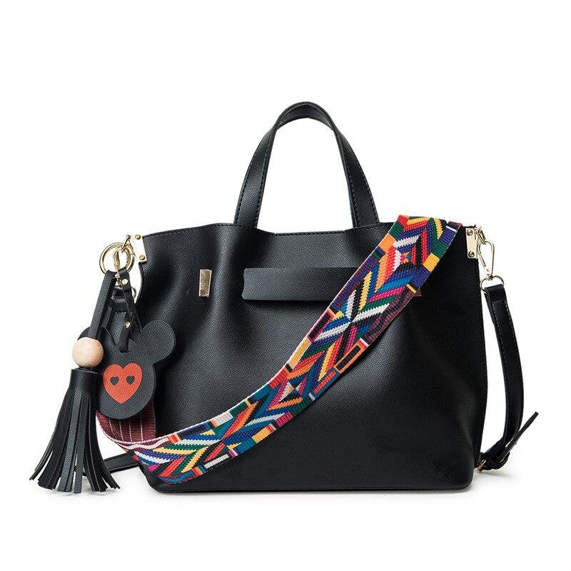 Sac à bandoulière femme unique bretelles colorées et pendentif mickey sac à main femme sac à bandoulière femme