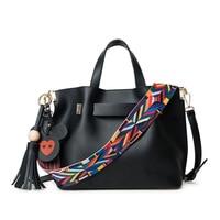 Women's single shoulder bag colorful straps and mickey pendant women handbag female crossbody bag