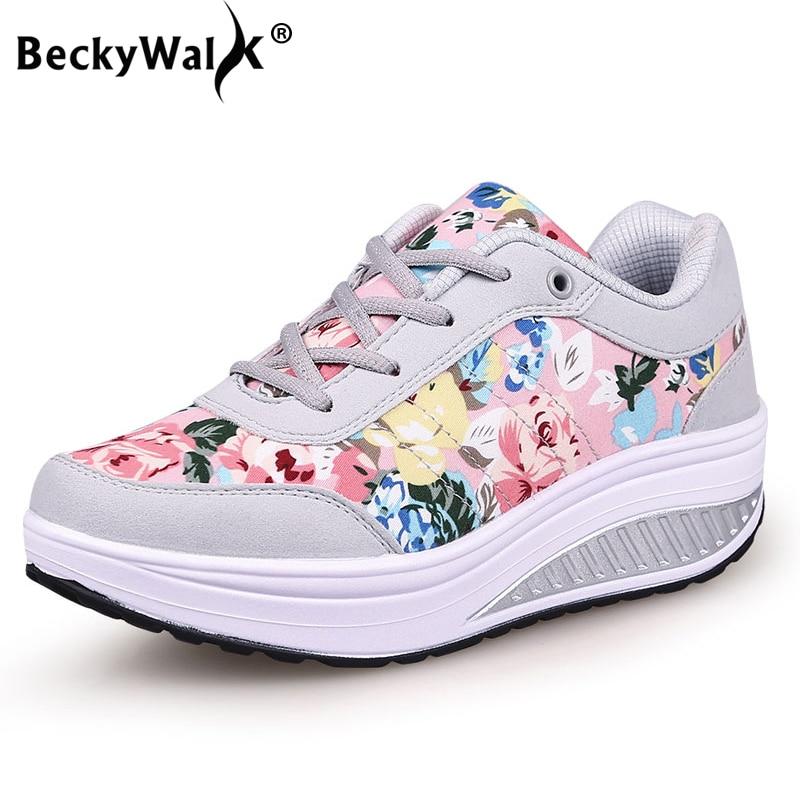 2019 Autumn Women Casual Shoes Fashion Breathable Walking Wedge Shoes Women Sneakers Printed Ladies Shoes Tenis Feminino WSH3302(China)