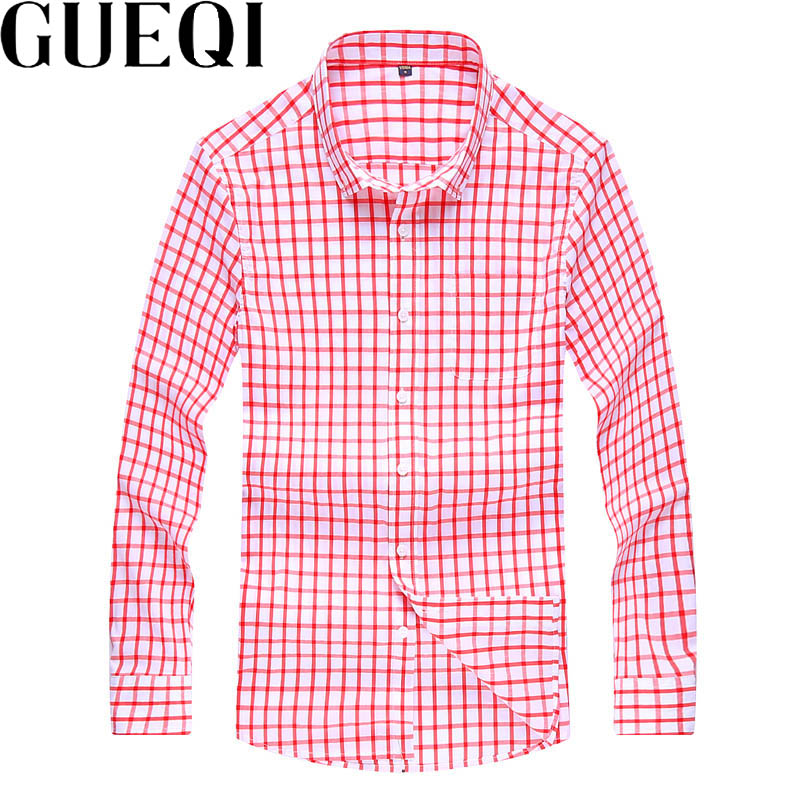GUEQI Men Fashion Plaid Dress Shirts Plus Size M-3XL Blue & Pink Solid Color Man Business Career Cotton Dress