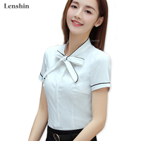 57002a31a312 Lenshin White Tie Blouse Summer Work Wear Office Lady Bow Shirts Female  Ruffle Tops Chemise