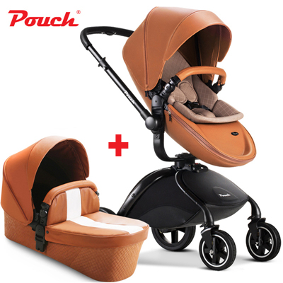 HK Free Pouch baby stroller 2 in 1 baby stroller  leather white red black orange color car seat baby sleeping basket baby car