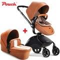 HK envío bolsa de cochecito de bebé 2 en 1 cochecito de bebé de cuero blanco Rojo Negro orange color asiento de coche bebé durmiendo cesta de coche de bebé