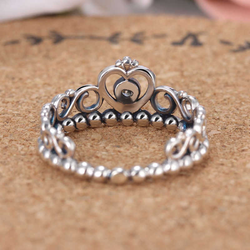 8d1e07040 ... Noble Silver Color My Princess Queen Crown Engagement Pandora Ring with  Clear CZ Women Jewelry Valentine's