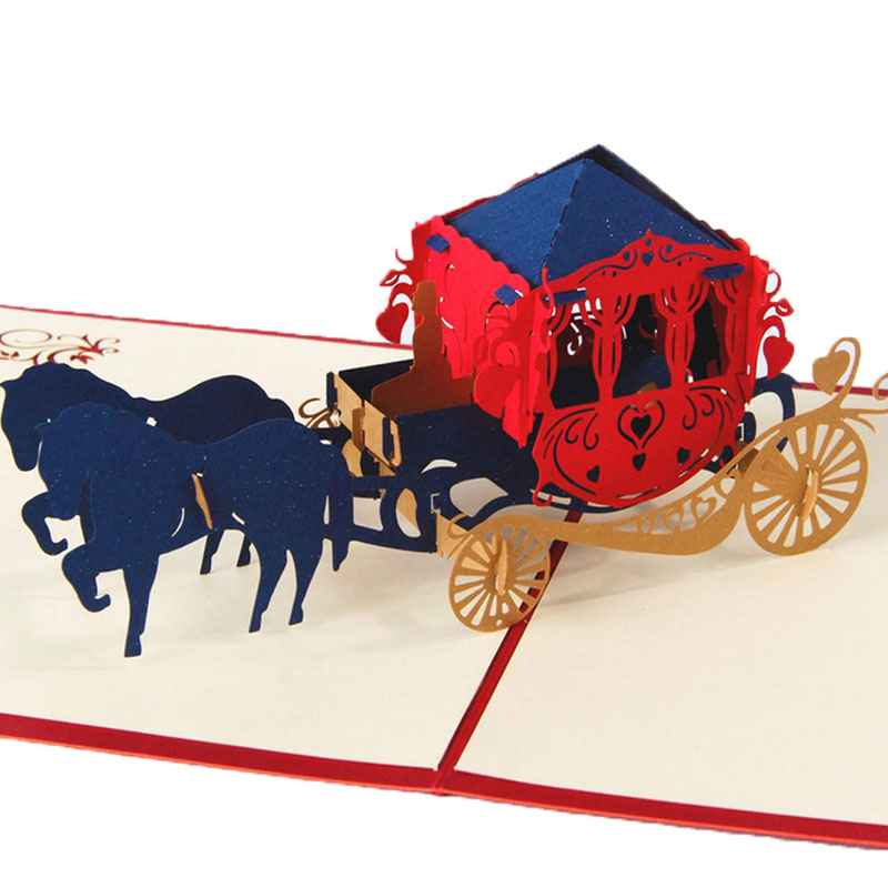 3D Pop Up Paper Laser Cut Greeting Cards Creative Handmade Kirigami Wedding lnvitations Love Carriage Postcards Wishes Gifts creative gifts 3d pop up card greeting