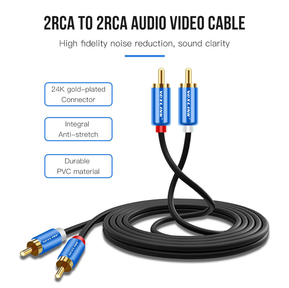hight resolution of voxlink 1m 1 5m 3m 2rca to 2rca cable for home theater dvd tv amplifier gold plated male to male rca stereo audio cable in audio video cables from