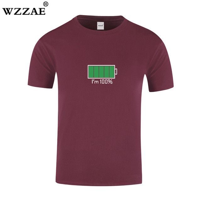 WZZAE 2018 Full Battery Android Creative Men T-shirts Energy Cotton Tee shirt Homme Classic Blouse Fitness Clothes Men's T shirt