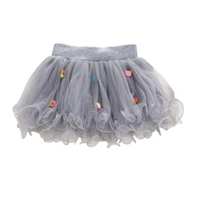 New Kids Girls Tutu Skirt Flower Party Ball Gown Princess Lace Children Mini Skirt 1-4Y X16