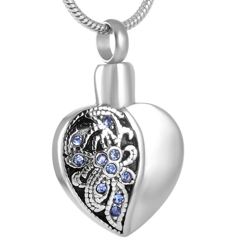 IJD8318 Hold Blue Crystal Flower Keepsake Stainless Steel Heart Shape Memorial Urn Pendant Cremation Jewelry Necklace for Ashes