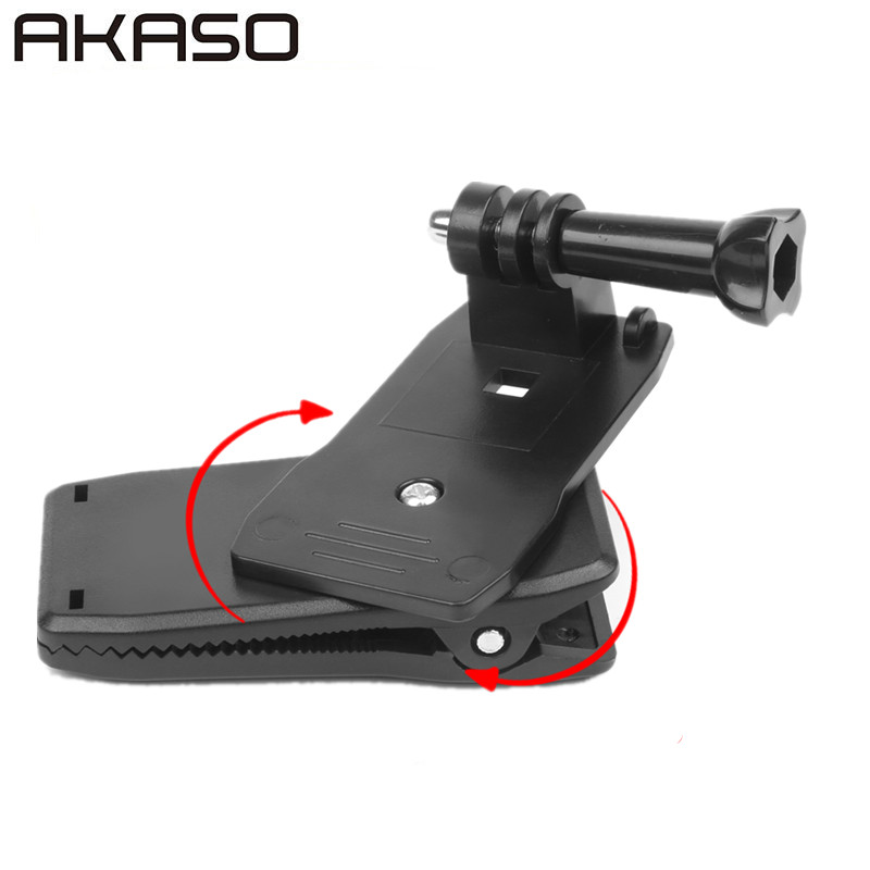 360 Degree Rotary Backpack Hat Clip Clamp Mount For Gopro Hero 5 3 4 Session SJCAM SJ4000 Xiaomi Yi 4K Go Pro Accessory