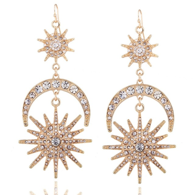 Big luxury Sun Moon Drop Earrings Rhinestone Punk Earrings for women Jewelry Golden boho vintage statement earrings 2