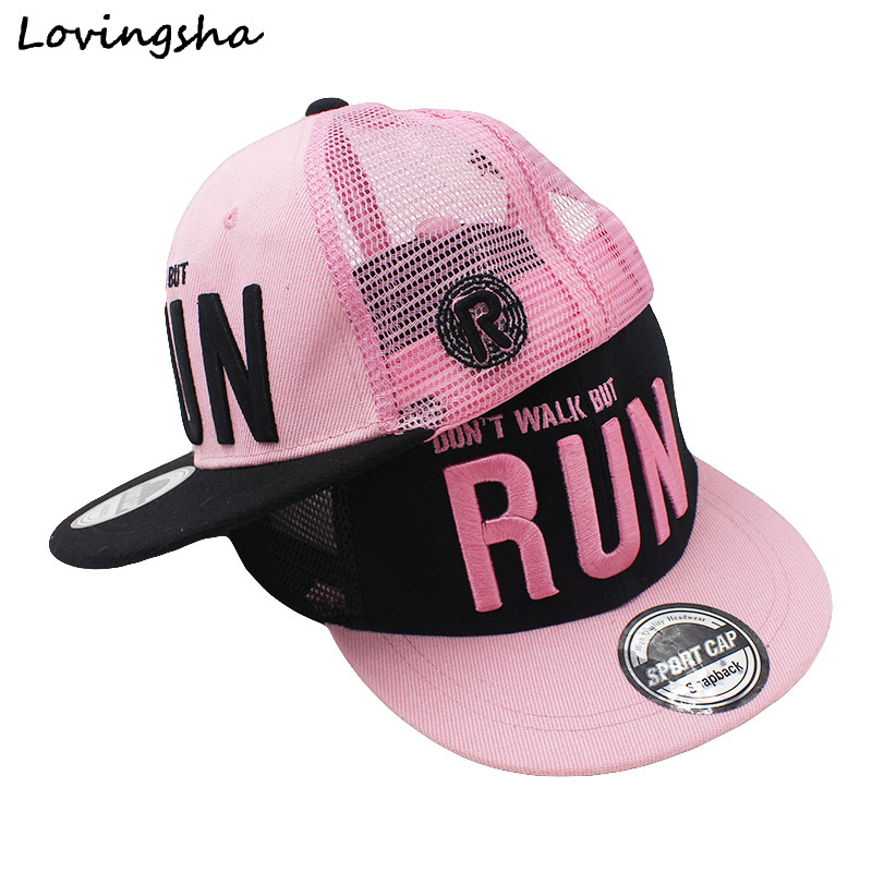 LOVINGSHA Boy   Baseball     Caps   3-8 Years Old Kid Letter Design Snapback   Caps   High Qaulity Adjustable Mesh   caps   For Girl CC062
