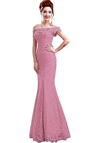 Misshow Русалка вечернее платье Розовое Кружевное длинное вечернее платье Элегантное с открытыми плечами без рукавов robe de Soiree - Цвет: Dusty pink