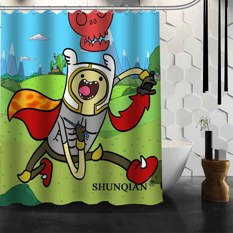 Custom Adventure Time Shower Curtain Bathroom Accessories Polyester Fabric With Holes In Curtains From Home Garden On Aliexpress