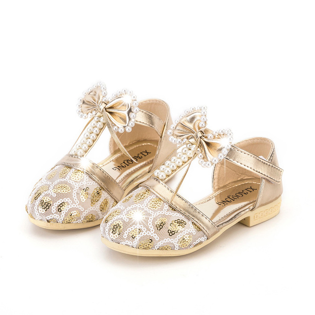 374c56aac2d31 Gold Bling Sequin Fake Pearl Beading Girls Wedding Party Dress Shoes Bow-tie  Baby Girls Sandals Children Kids Glitter Shoes